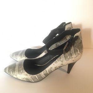 Joe's snake print ankle strap heels pumps size 8.5